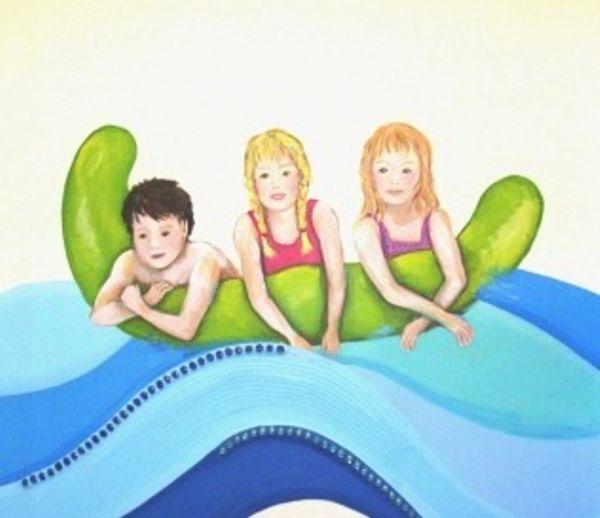 Badepark Wandmalerei Kinder