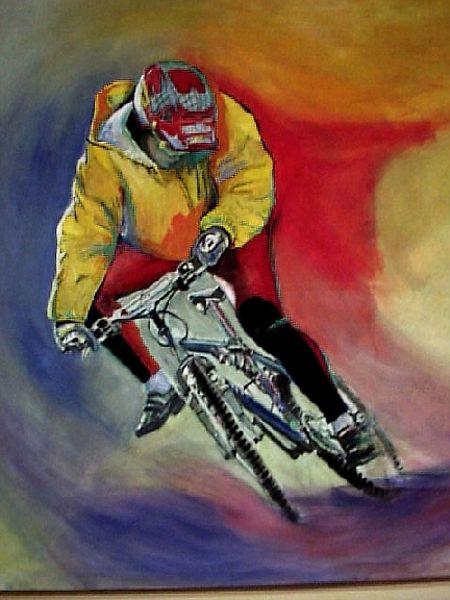 Auftragsmalerei für Fiteffect Buxtehude, Motiv: Radrennfahrer