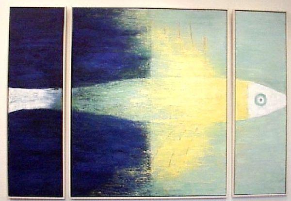 Auftragsmalerei für Sparkasse Elmshorn, Motiv: Fisch (Triptychon)