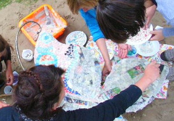 Mosaik-Projekt Schmetterling Arbeitsphase