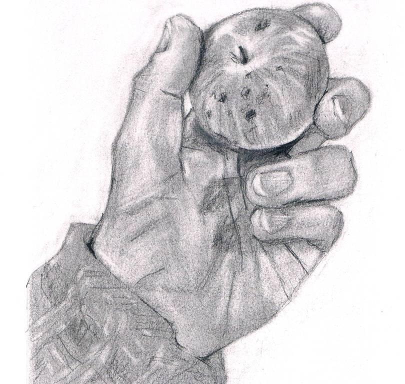 Hand und Apfel gezeichnet